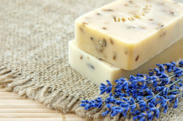 Hand-made soap with lavender