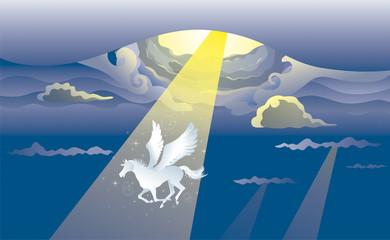 Fotobehang Pony 雲間から現れるペガサス