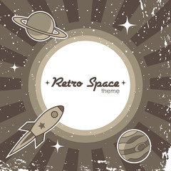 Fototapete - Retro space theme background with rocket