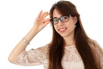 Freundliche Brillenträgerin