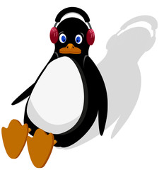 penguin is sitting and listening to music on headphones.EPS10