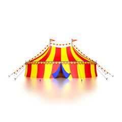 stylized colorful circus tent