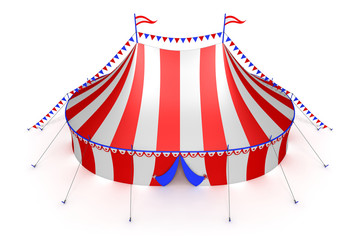 stylized striped circus tent