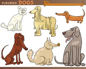 purebred dogs cartoon set