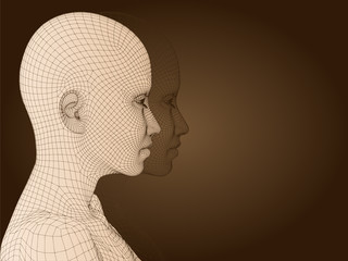 3D woman head made of beige wireframe isolated on brown