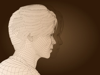 3D man head made of beige wireframe isolated on brown