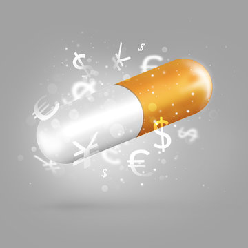 Successful management concept. Pill with success inside
