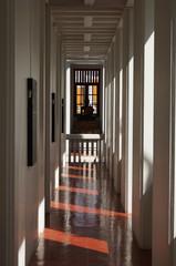 The hallway through black sitting buddha