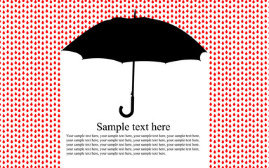 colorful background with umbrella in the rain, vector