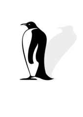 Penguin silhouette on a white background with shadow