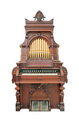 Vintage organ isolated with clipping path.