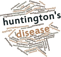 Word cloud for Huntington's disease