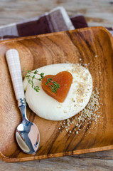 Quince Marmelade Heart With Mozzarella For St.Valentine's Day