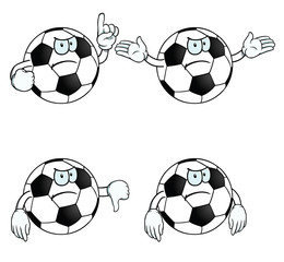 Collection of angry cartoon footballs with various gestures.