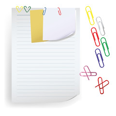 Memo note with paper clip vector