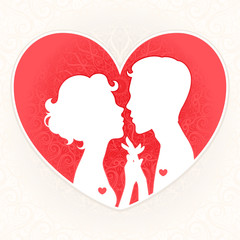 silhouettes of lovers on a background of red hearts