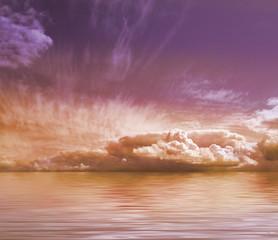 Beautiful purple sky and orange water background image
