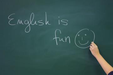 English writing on the blackboard