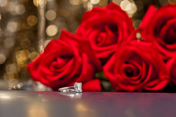 Jewelry ring and roses