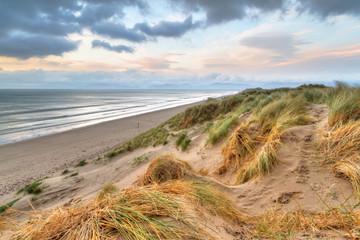 Rossbeigh beach dunes at sunset, Ireland