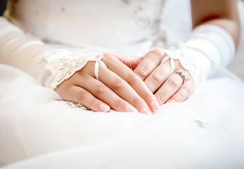 Hands of a bride close-up
