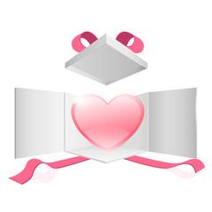 Cute pink heart inside a gift box. Vector design.
