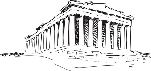 Greek temple. Sketch.