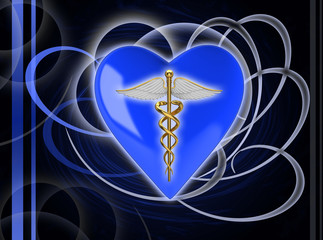 Gold caduceus medical symbol