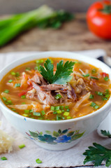 Soup with tomatoes and meat