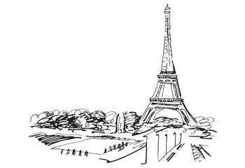 Foto op Canvas Illustratie Parijs Eiffel Tower. Paris, France.