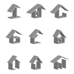 icon set of abstract graphic houses. 3d vector model