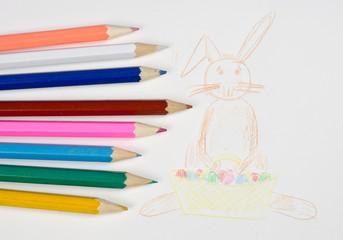Kinderbild Osterhase mit Buntstiften