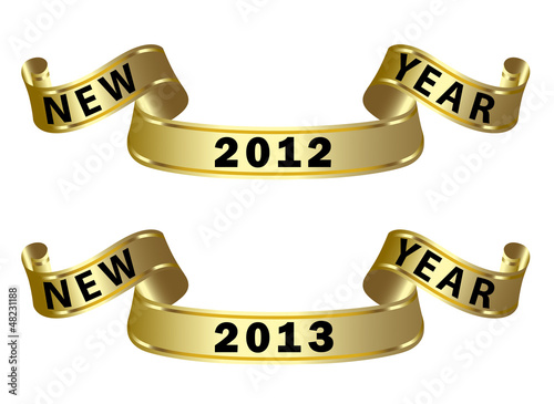 gold ribbon with new year label 2012 2013