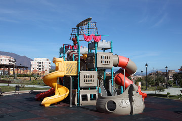 Colorful pirate ship playground in a park