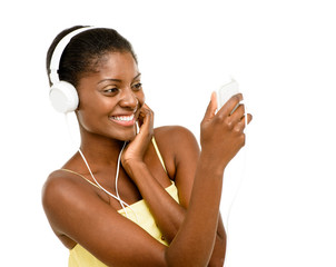 Happy African American Woman dancing listening to music