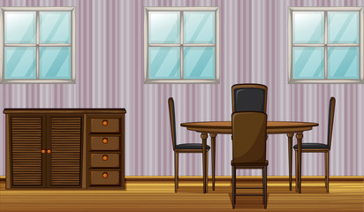 A dinning table and wardrobe