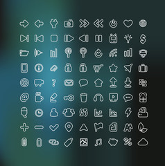 Web and Mobile icon set in white outline isolated on background