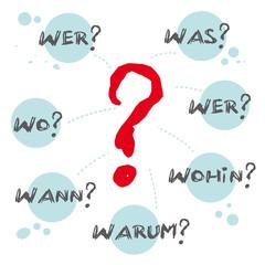Obraz Fragewörter, wer, was, wo, wann, warum, wie, wohin - fototapety do salonu