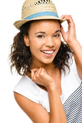 Beautiful mixed race Woman smiling portrait isolated on white ba