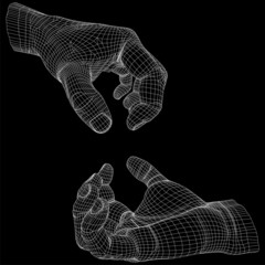 High resolution conceptual 3D cyber wireframe human hand