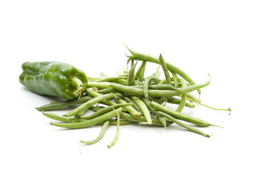 Grüne Paprika und Grüne Bohnen