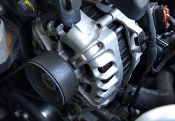 Car alternator close-up