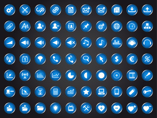 Set of blue universal web icons isolated on white background