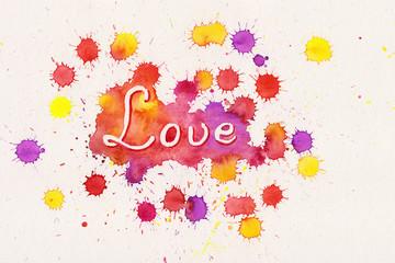 Love Aquarell Farbspritzer handgemalt