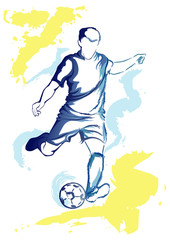 Football player - watercolor kick