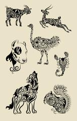 Animals symbol floral ornament vector.