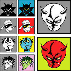 Halloween masks. Devil & evil drawing comic style.