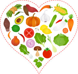 A Vector illustration of Vegetables icons inside a Heart
