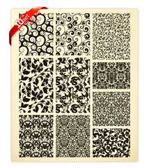 Set of ten patterns, black silhouettes