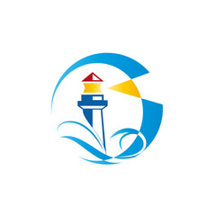 Logo lighthouse on white background # Vector